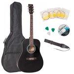 Акустическая гитара Encore EWP-100BK с чехлом и ремнем в комплекте
