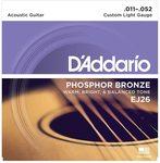 Струны для акустической гитары D'Addario EJ26 11-52, бронза фосфорная